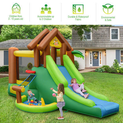 Kids Inflatable Jungle Bounce House Castle with Bag and Air Blower