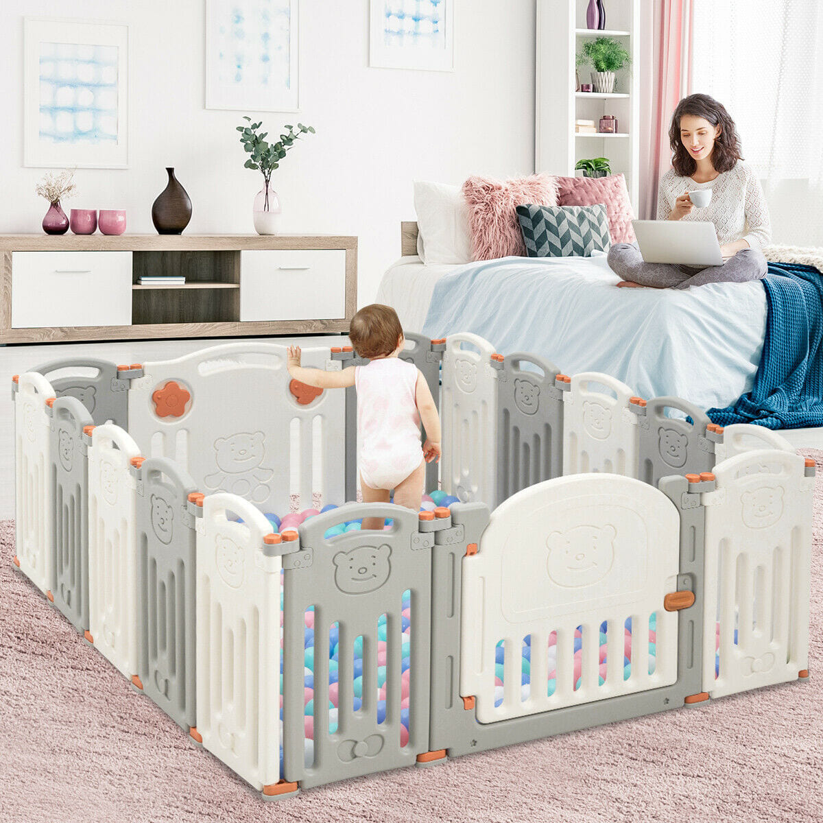 16 Panel Activity Safety Baby Playpen w/ Lock Door Beige - FREE SHIPPING
