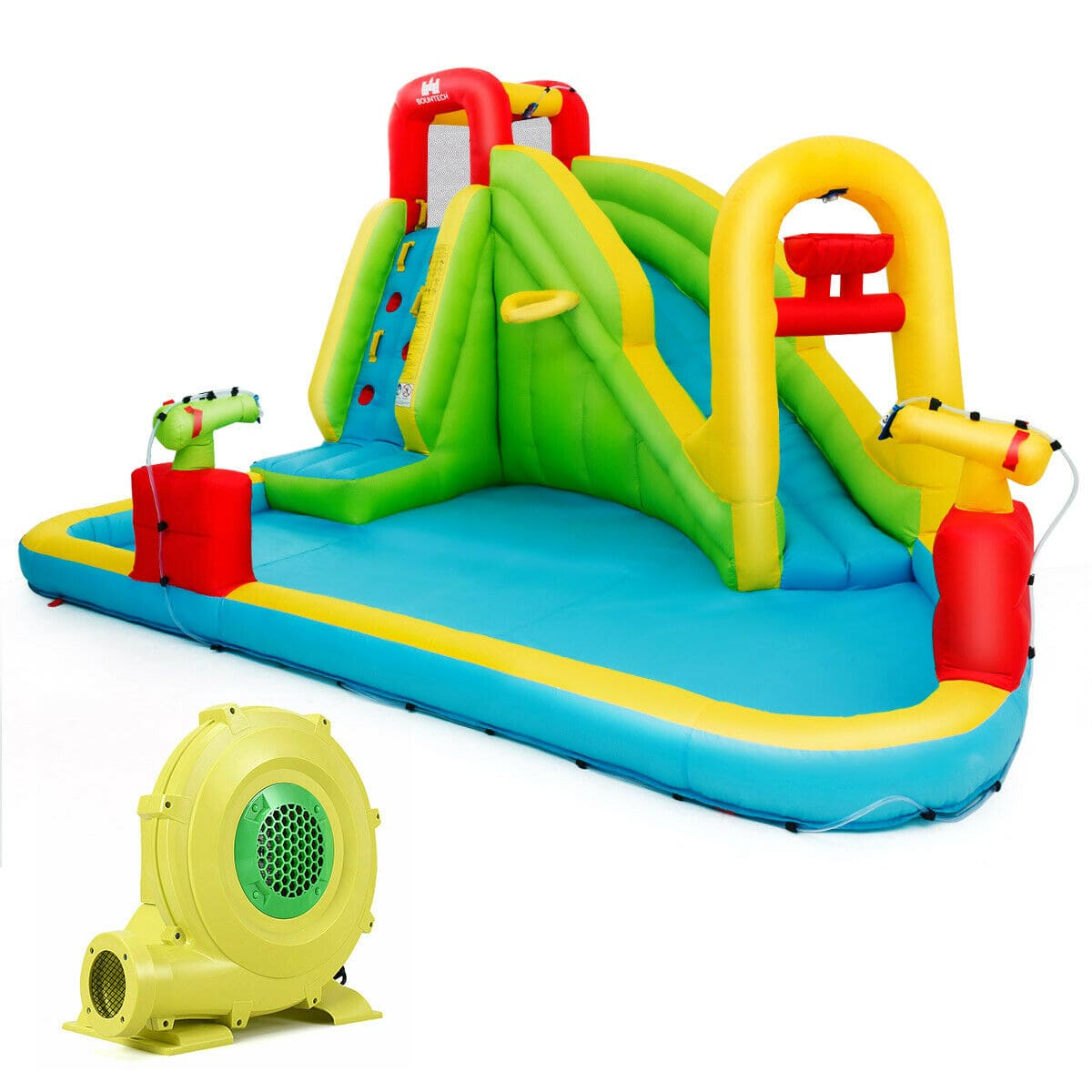 Inflatable Water Bounce House with Slide, Climbing Wall, and 480W Blower and Slide - FREE SHIPPING
