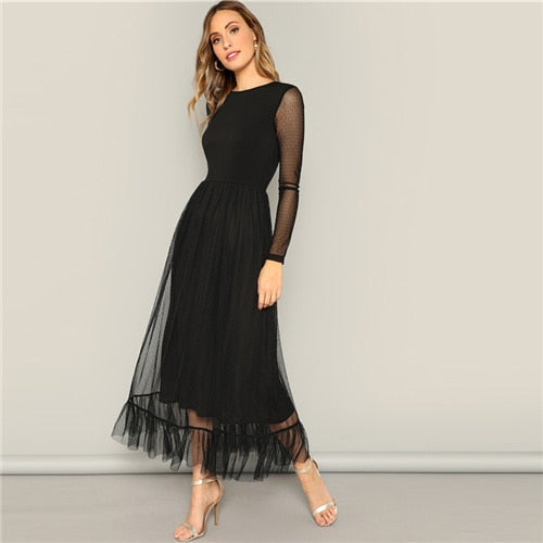 Fit & Flare Mesh Overlay Ruffle Hem Dress