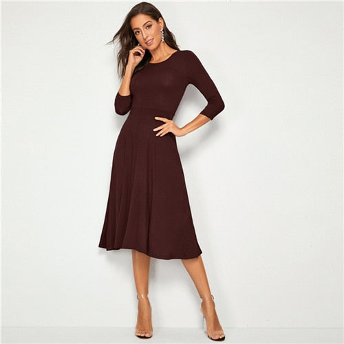 Solid Fit & Flare A-Line Stretchy Dress