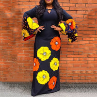 Plus Size Flare Sleeve Floral A-Line Maxi Dress