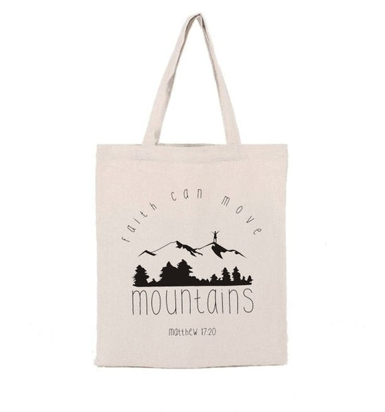 """Faith Can Move Mountains"" Shopping Bag - Christian theme"