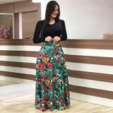 Long Sleeve Patchwork Print Maxi Dress