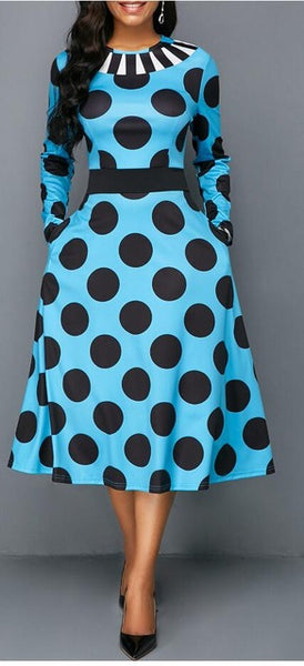 African Style Black Dot Elastic A-line Dress