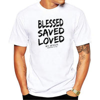 """BLESSED SAVED LOVED John 3: 16"" Tee Shirt"
