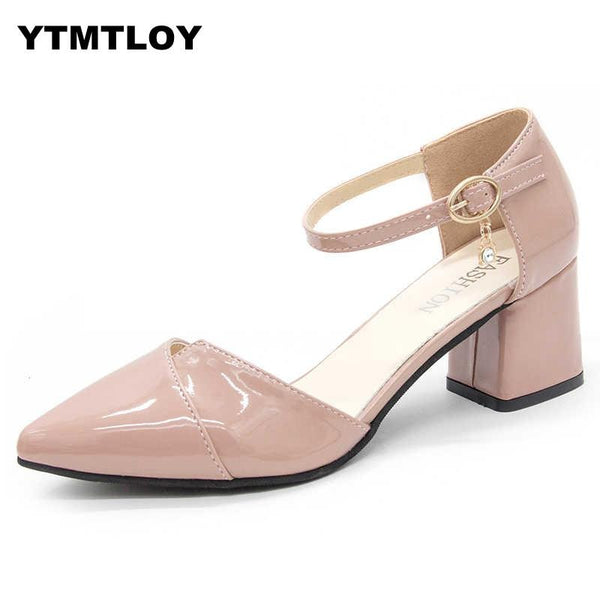 Pointed Toe Buckle Strap Square Heels Pumps