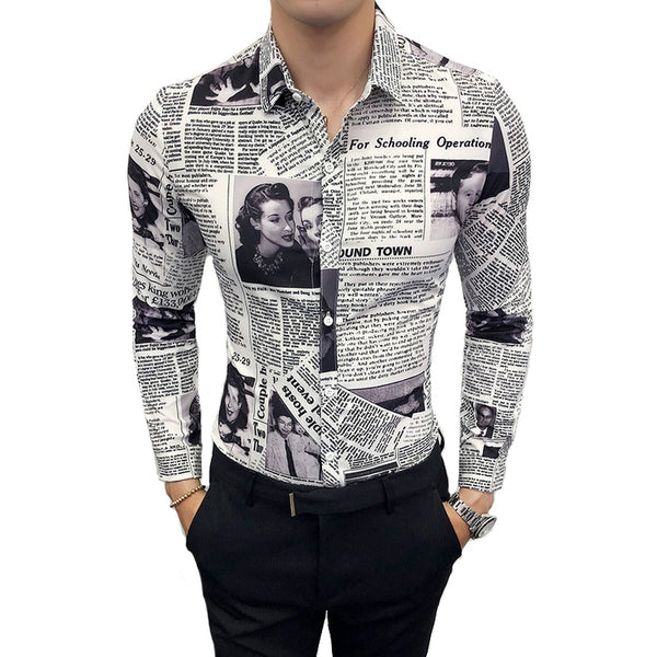 Long-sleeved Newspaper Print Slim Shirt
