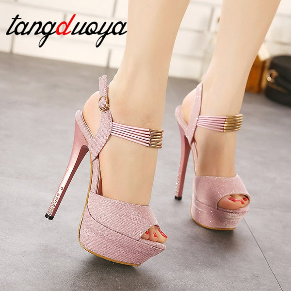 High Heel Peep Toes Pumps