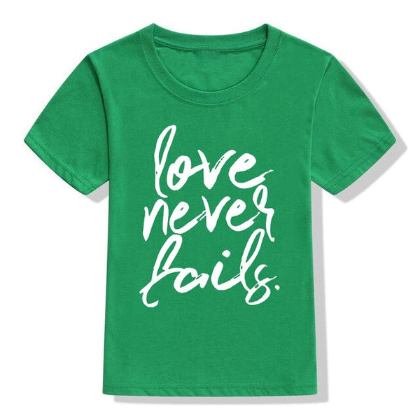 """Love Never Fails"" Kids Christian T-Shirt"