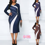Patchwork Long Sleeve Plus Size Bodycon Dress
