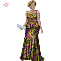 Mermaid Skirt with Headtie 2-Piece Set African Print Dress