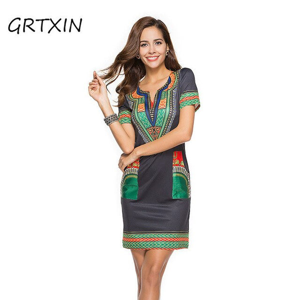 Pocket Patchwork Bodycon Tunic African Print Dress