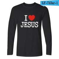 """I Love Jesus"" Long Sleeve Casual T Shirt"