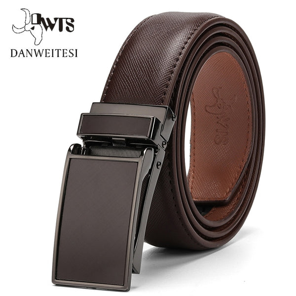 Genuine Leather Strap Automatic Buckle Belt