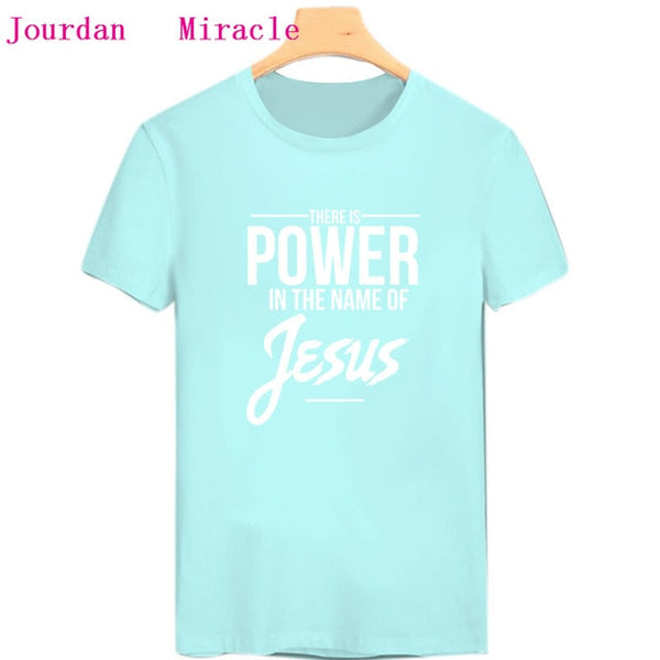 """Power in the name of Jesus Christ"" T Shirt - Christian theme"