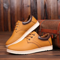 Men's Flat Lace-Up Leather Sneaker Shoes