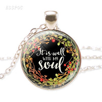 Glass Cabochon Silver-Plated Pendant Necklace