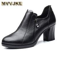 Genuine Leather Women's Pumps - Professional Work Shoes
