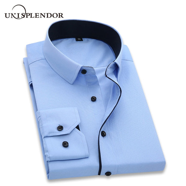 Quality men's long sleeve slim fit shirt