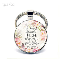 """God Is Within Her. She Will Not Fall"" Bible Quote Keyring"