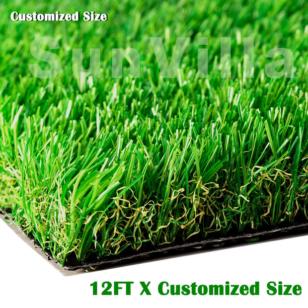 "SunVilla Artificial Grass Realistic 【 Customized Sizes 】 Grass Height 1 3/8"" Indoor/Outdoor Artificial Grass/Turf Many Sizes(12FTX12-82FT)"