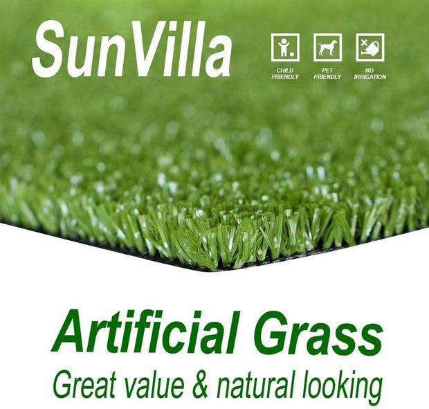 SunVilla Artificial Grass,Artificial Rug/Mat, Realistic Indoor/Outdoor Rubber Back Turf for Garden, Patio, Fence, Garden, Wall Decoration (6FTx6-82FT)