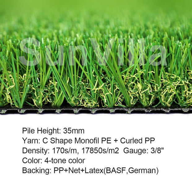 SunVilla SV7'X13' Realistic Indoor/Outdoor Artificial Grass/Turf 7 FT X 13 FT (91 Square FT)