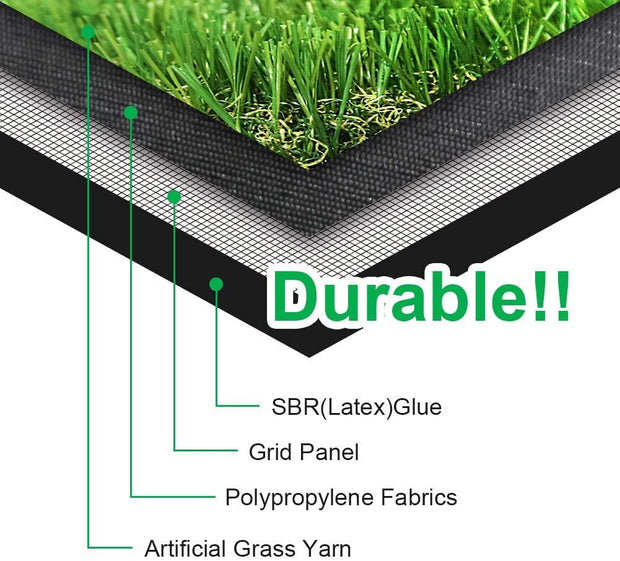 "SunVilla Artificial Grass Realistic 【 Customized Sizes 】 Grass Height 1 3/8"" Indoor/Outdoor Artificial Grass/Turf Many Sizes(3FTX3-82FT)"