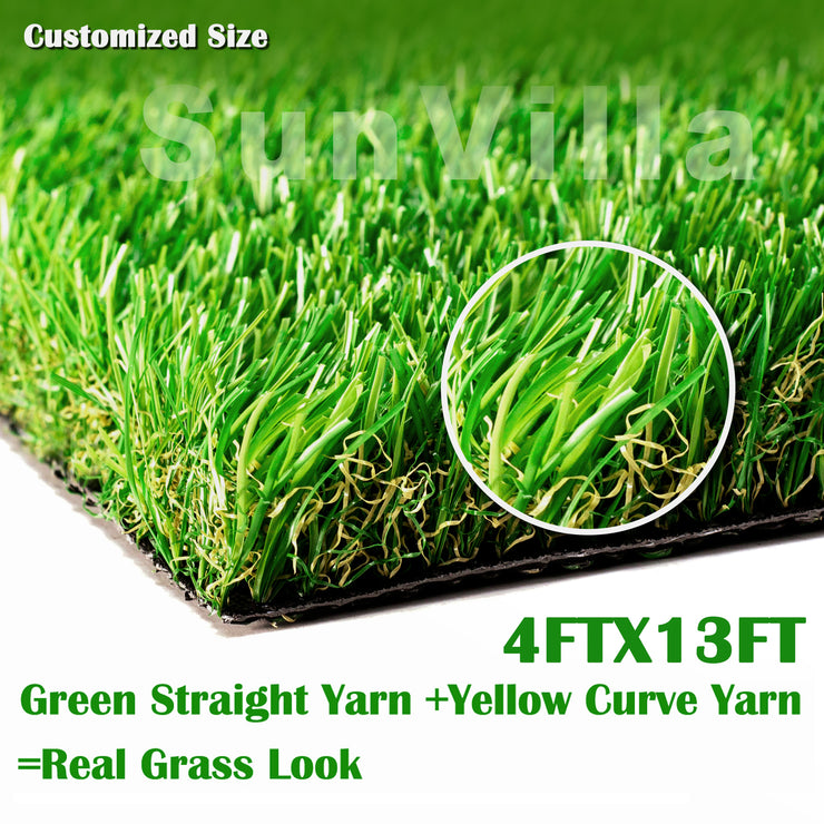 SunVilla 4'X13' Realistic Indoor/Outdoor Artificial Grass/Turf, 4 ft X 13 ft =52 Square feet, Green/Olive Green/Yellow