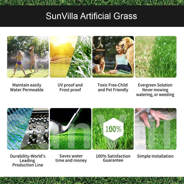 SunVilla Artificial Grass,Artificial Rug/Mat, Realistic Indoor/Outdoor Rubber Back Turf for Garden, Patio, Fence, Garden, Wall Decoration (11FTx11-82FT)