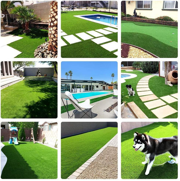"SunVilla Artificial Grass Realistic 【 Customized Sizes 】 Grass Height 1 3/8"" Indoor/Outdoor Artificial Grass/Turf Many Sizes(13FTX13-82FT)"