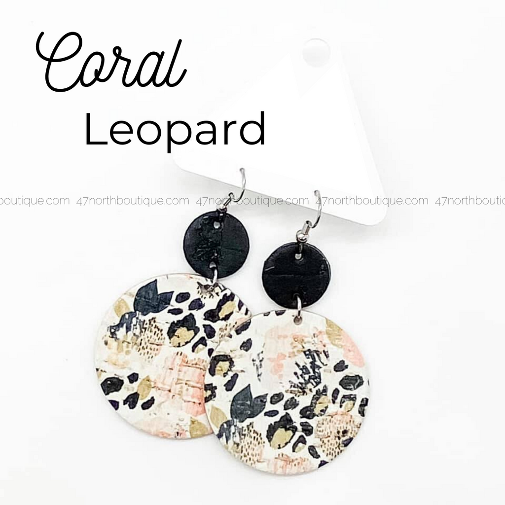 Coral Leopard Earrings