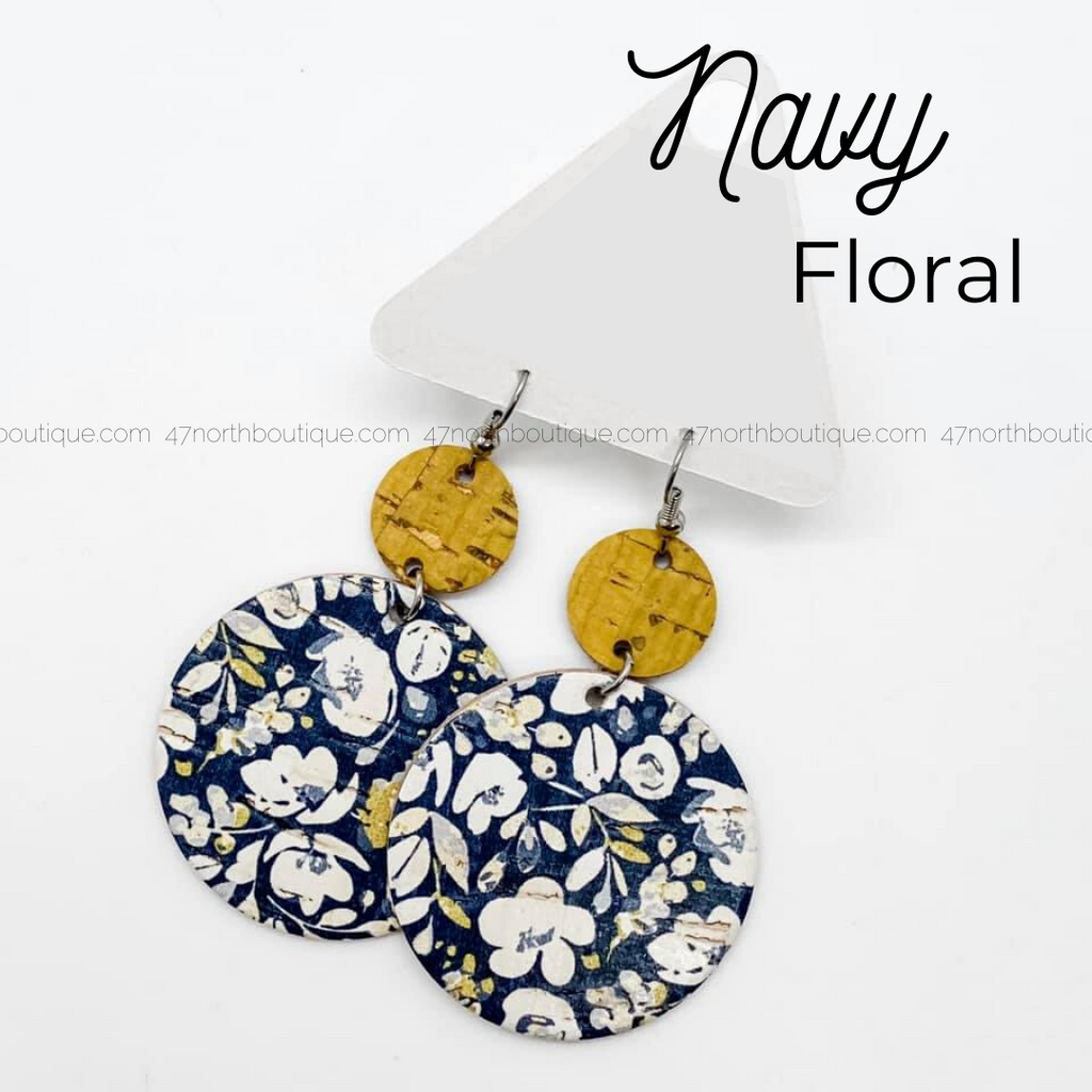 Navy Floral Earrings