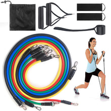 Load image into Gallery viewer, Whatafit Resistance Bands Set (11pcs), Exercise Bands with Door Anchor, Handles, Waterproof Carry Bag, Legs Ankle Straps for Resistance Training, Physical Therapy, Home Workouts