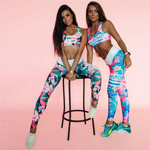 Flower Print Gym Set Women Workout Clothes Letter Stripe Yoga Set 2019 Early Autumn Fitness Clothing Women 2 Piece Workout Sets