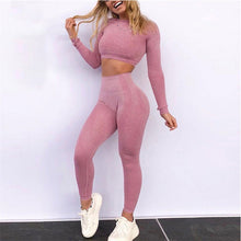 Load image into Gallery viewer, Women's Workout Sets 2 Piece Outfits High Waisted Yoga Leggings and Sports Bra Gym Clothes