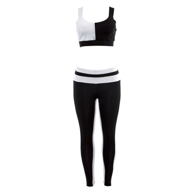 Women Sportswear Tracksuit Woman Fitness Gym Set Yoga Suit Female Costume Sport Top+Leggings Running Workout Clothes Black White