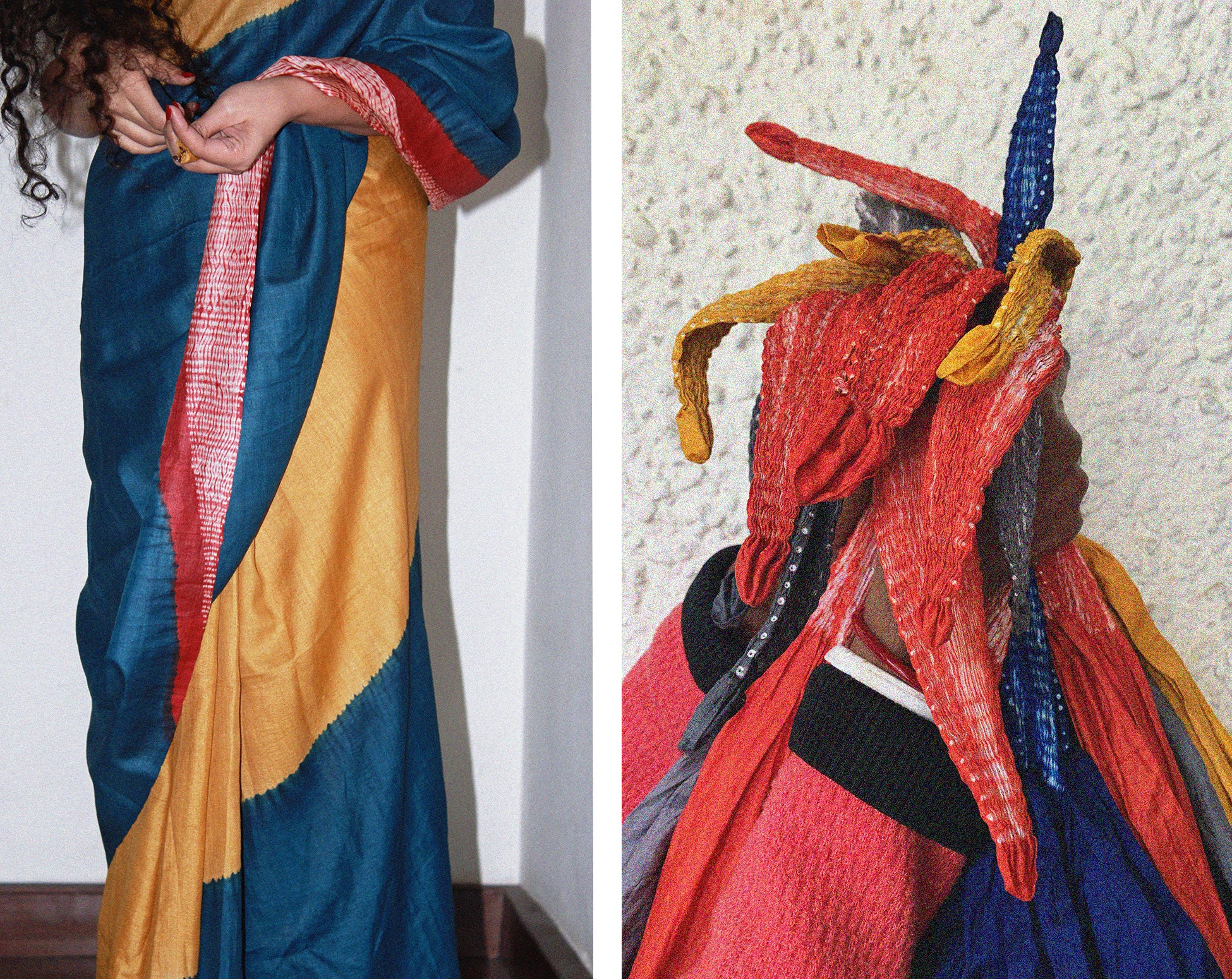 Colour blocked tussar silk saree naturally dyed in natural indigo, haldi & madder red