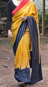 Naturally Dyed Shibori Silk Saree - Border Play