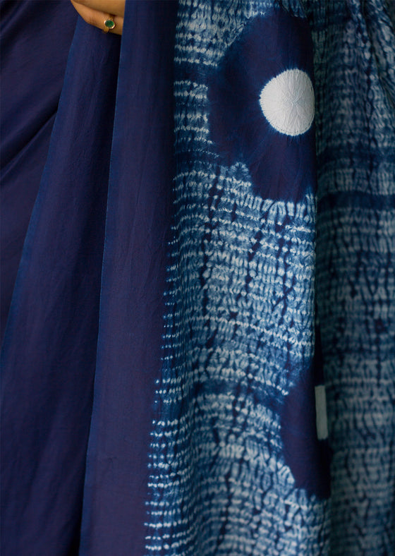 Naturally Dyed Shibori Silk Saree - Play of Circles