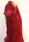 Naturally Dyed Miura Organza Saree - Madder red