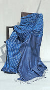 Blue Metallic Bandhani saree