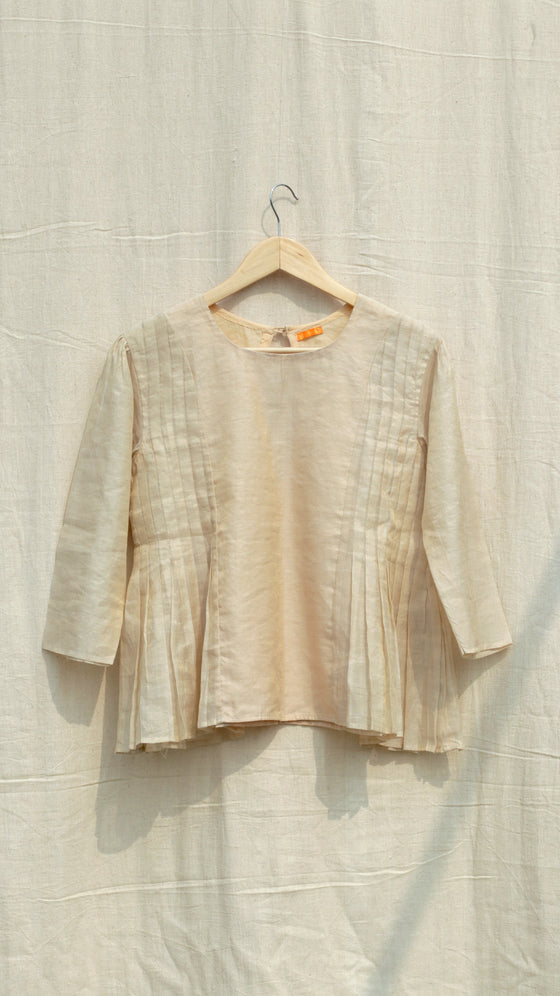 Metallic Side pleated blouse