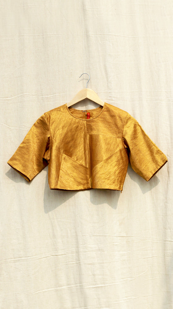 Mustard patched metallic blouse