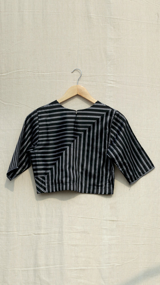 Black metallic striped blouse