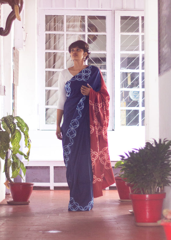 Naturally Dyed Shibori Silk Saree - Leaf Play