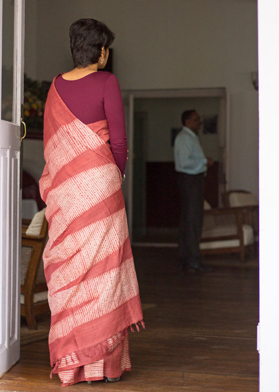 Naturally Dyed Shibori Silk Saree - Temple Border