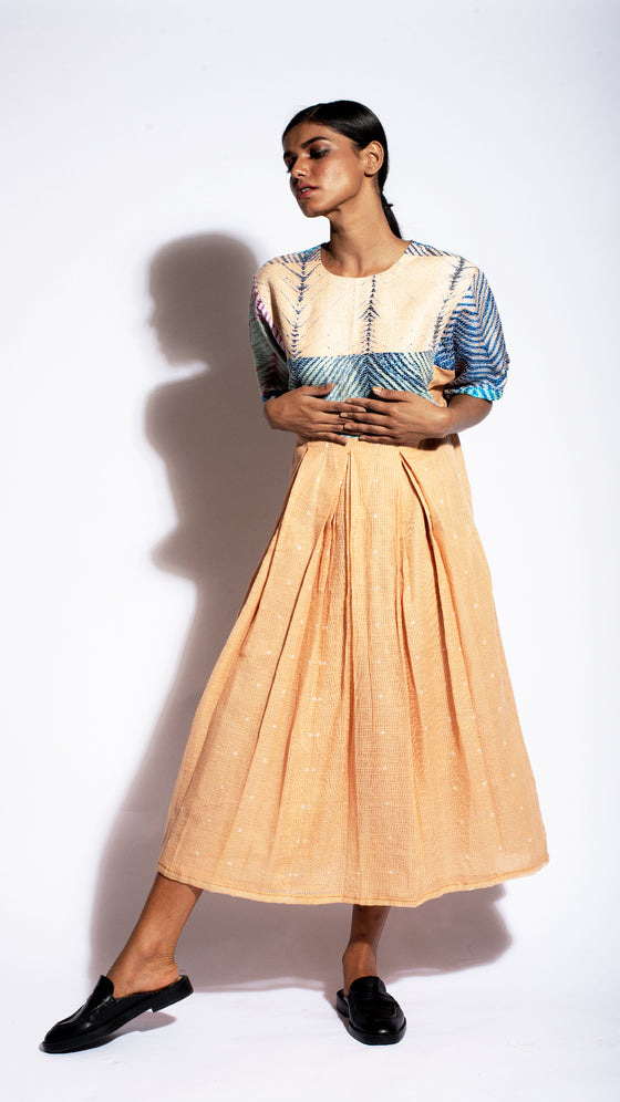 MUTED PEACH ARASHI BORO DRESS