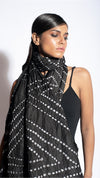Black Abstract Bandhani Saree